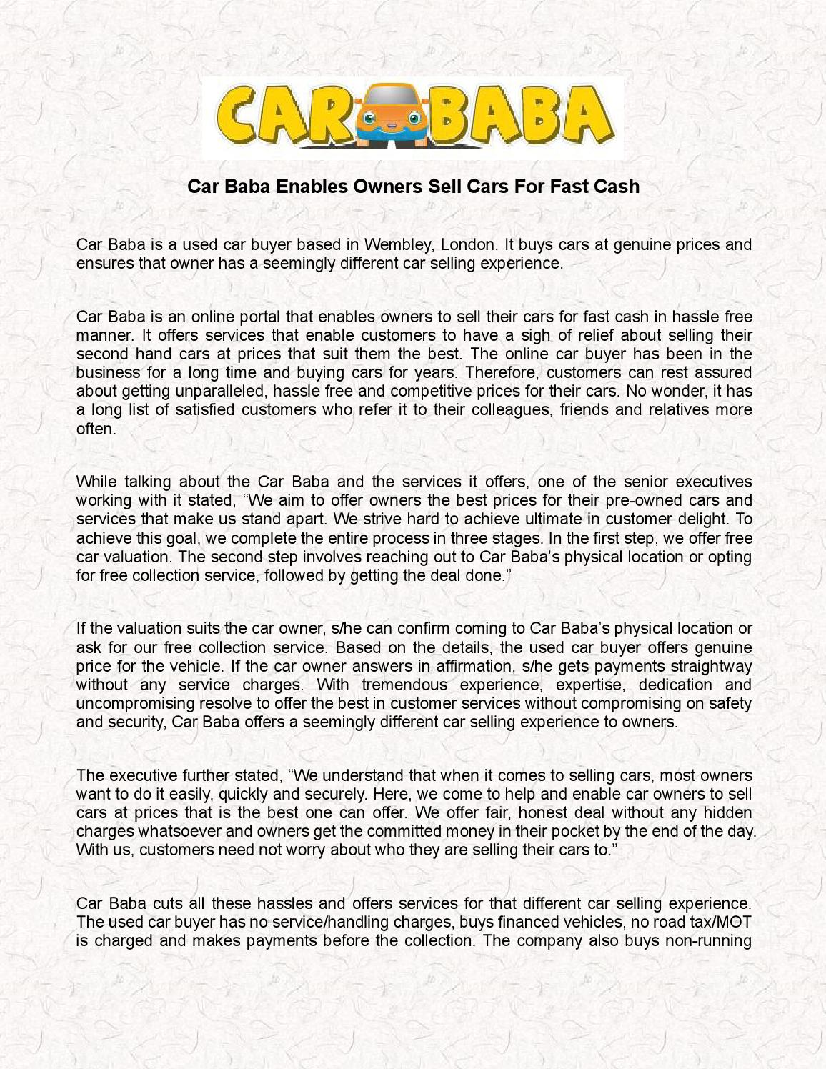 Car baba enables owners sell cars for fast cash by carbaba - issuu