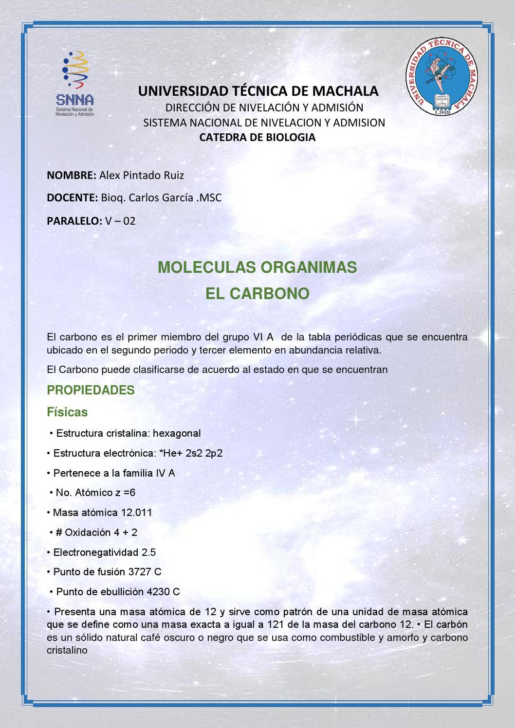 Materia 7 Moleculas Organicas El Carbono By Alexander