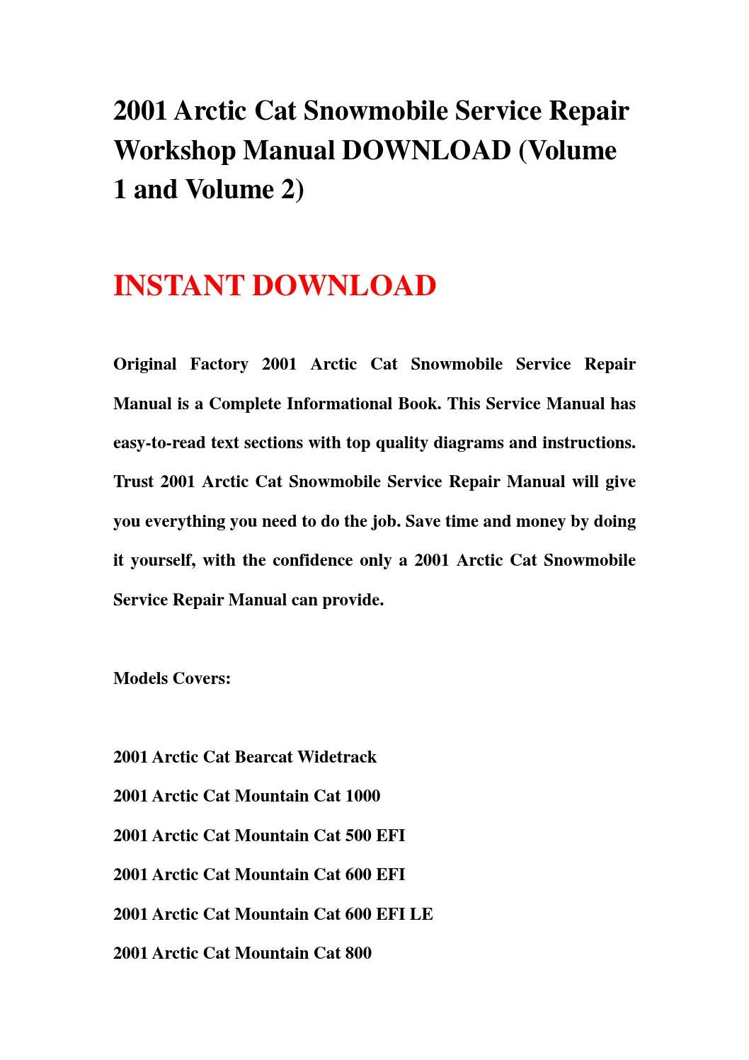 2001 arctic cat snowmobile service repair workshop manual download (volume  1 and volume 2) by jsehfnj67yd - issuu