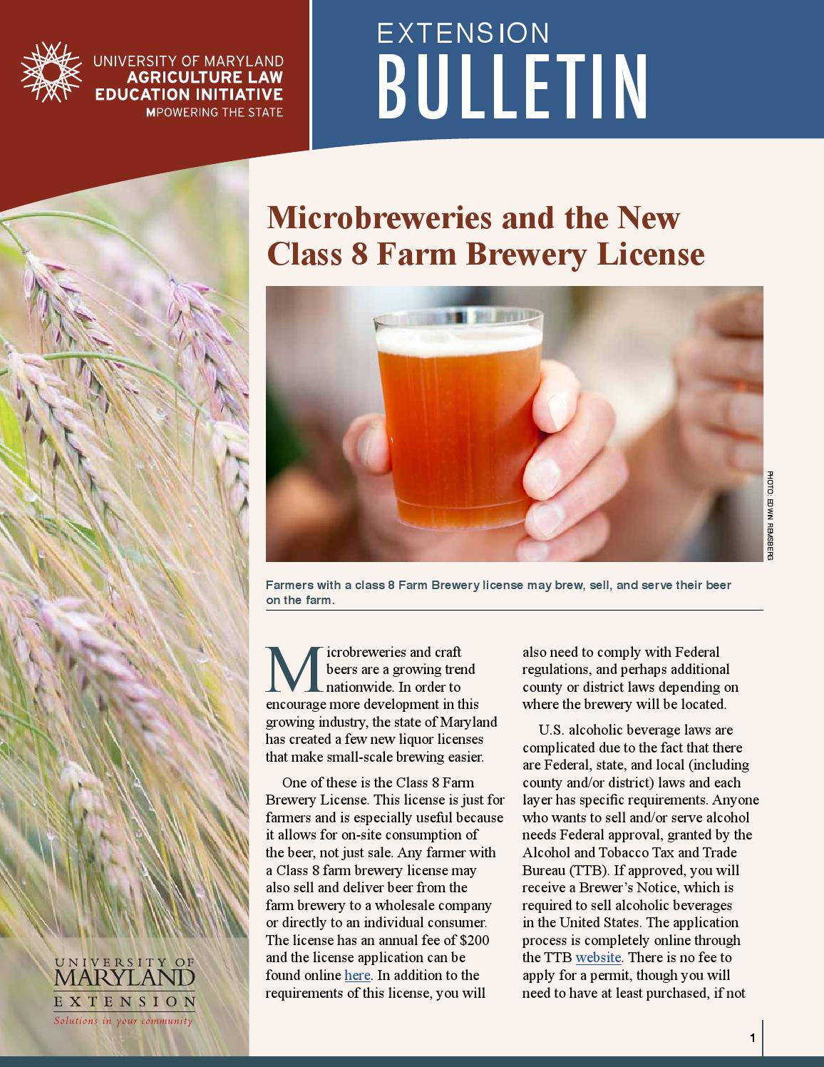 Microbreweries and the New Class 8 Farm Brewery License by ...