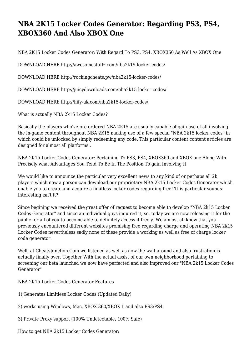 NBA 2K15 Locker Codes Generator: Regarding PS3, PS4, XBOX360