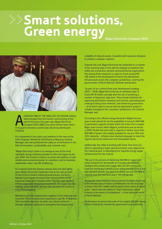 Port of Sohar & Freezone Magazine 2013, issue 6 by Oman
