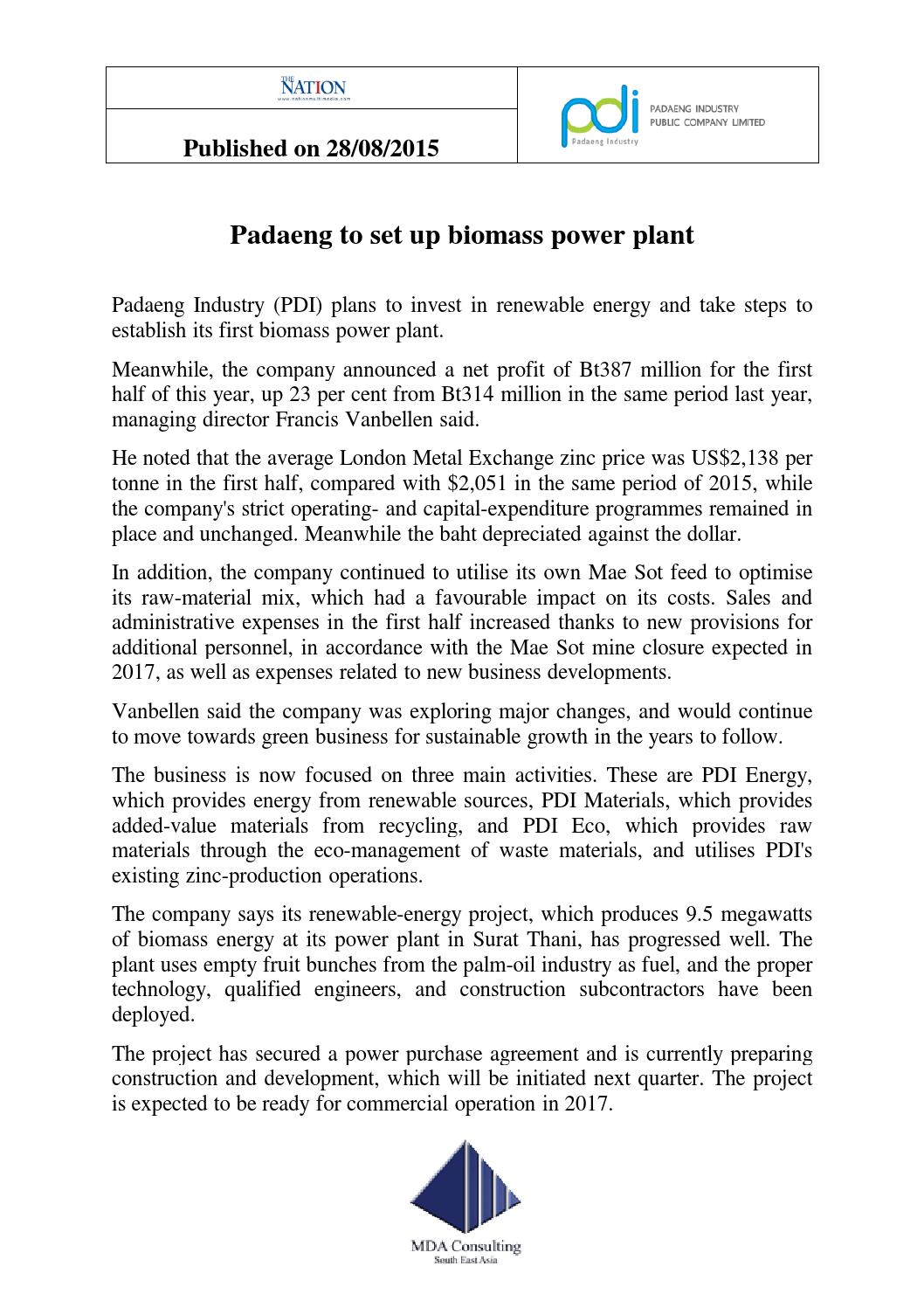 Padaeng to Set Up Biomass Power Plant by MDA Consulting