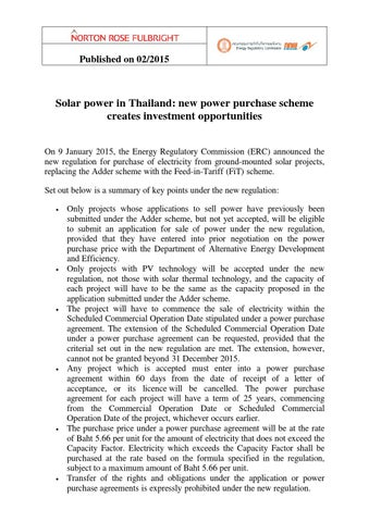 Solar Power in Thailand New Power Purchase Scheme Creates