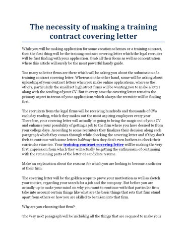 training contract cover letters