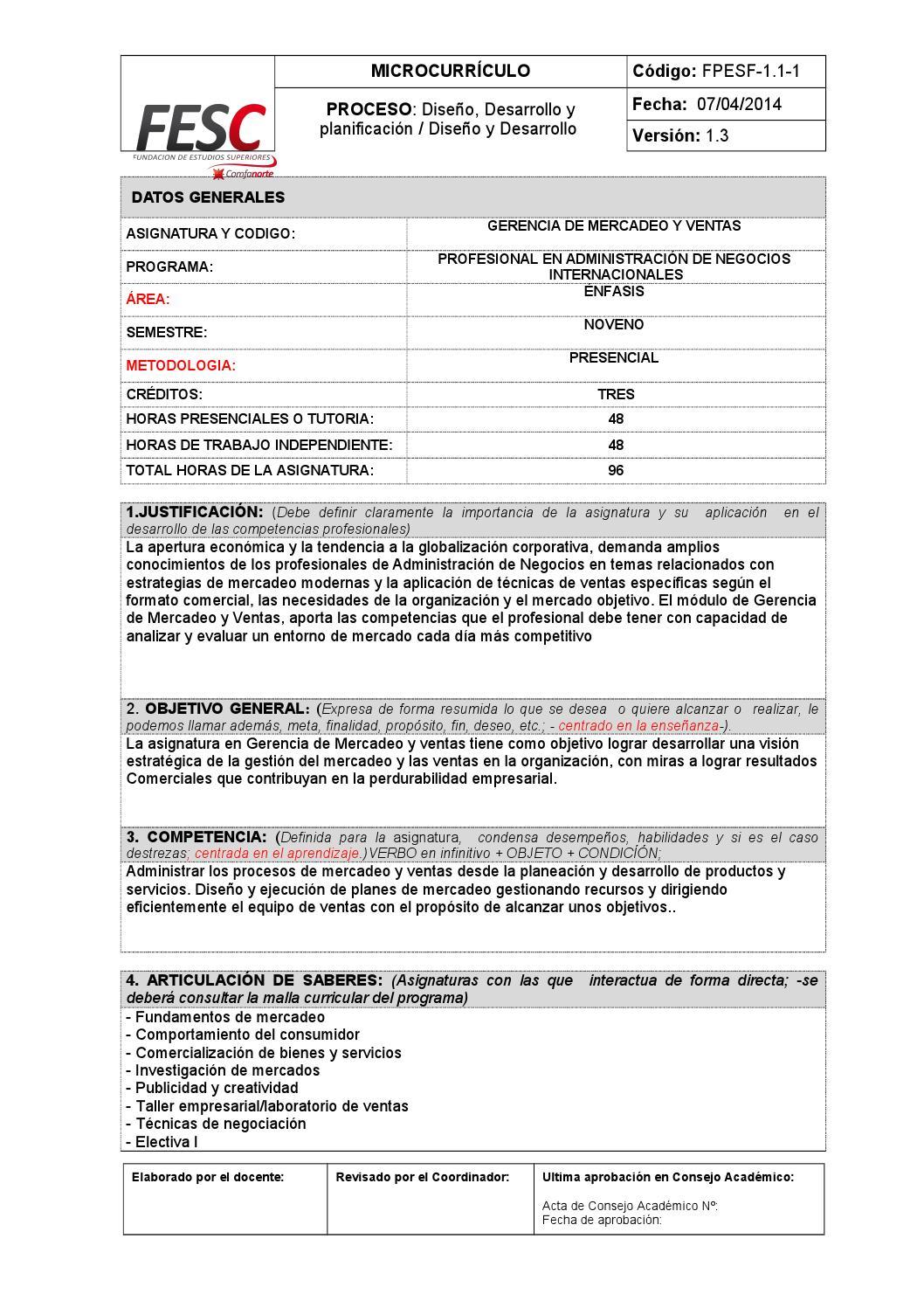 Gerencia de mercadeo y ventas - Microcurrículo by Ricardo López ...