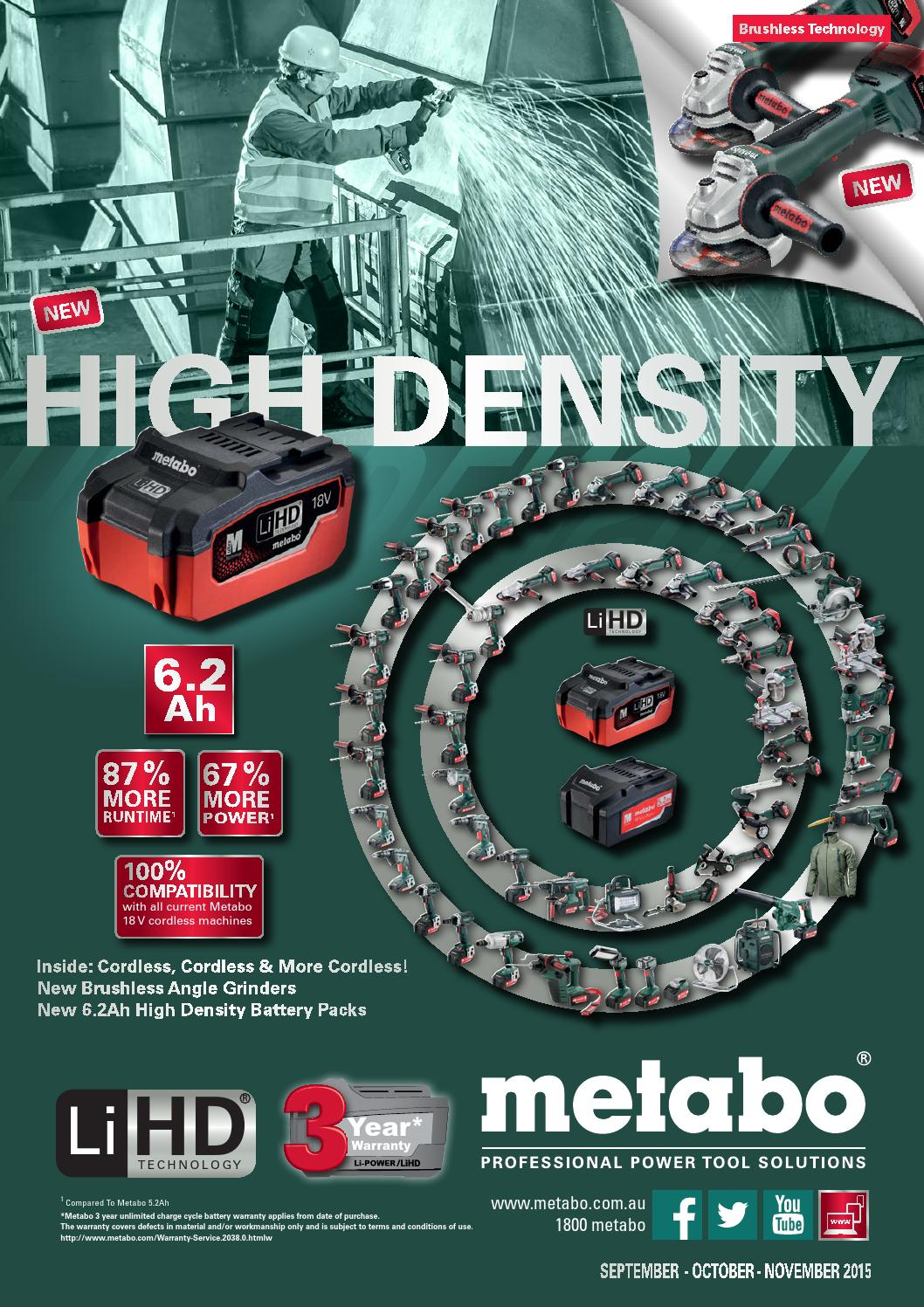 Metabo Australia Promo Sept Oct Nov 15 Online By Collins Tools Cordless Angle Grinder W18 Ltx 125 Welding Supplies Pty Ltd Issuu