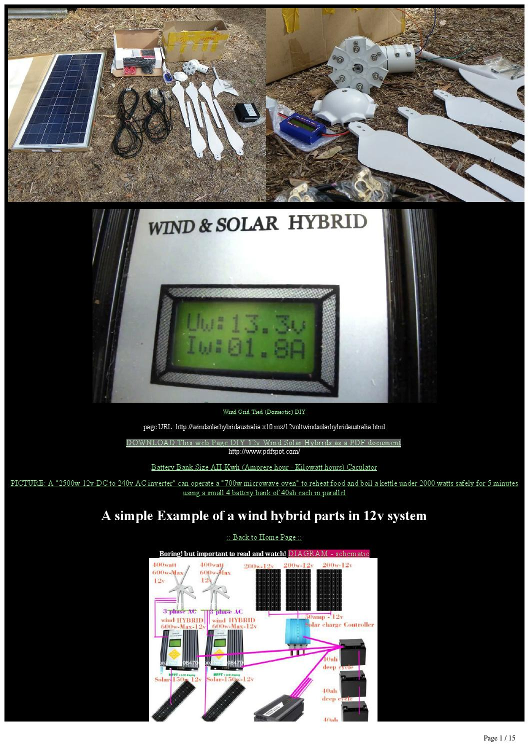 Diy 12v To 240v Ac  Solar Wind Hybrid Off Grid 1kw Wind 1kw Solar By Samuel Marchant