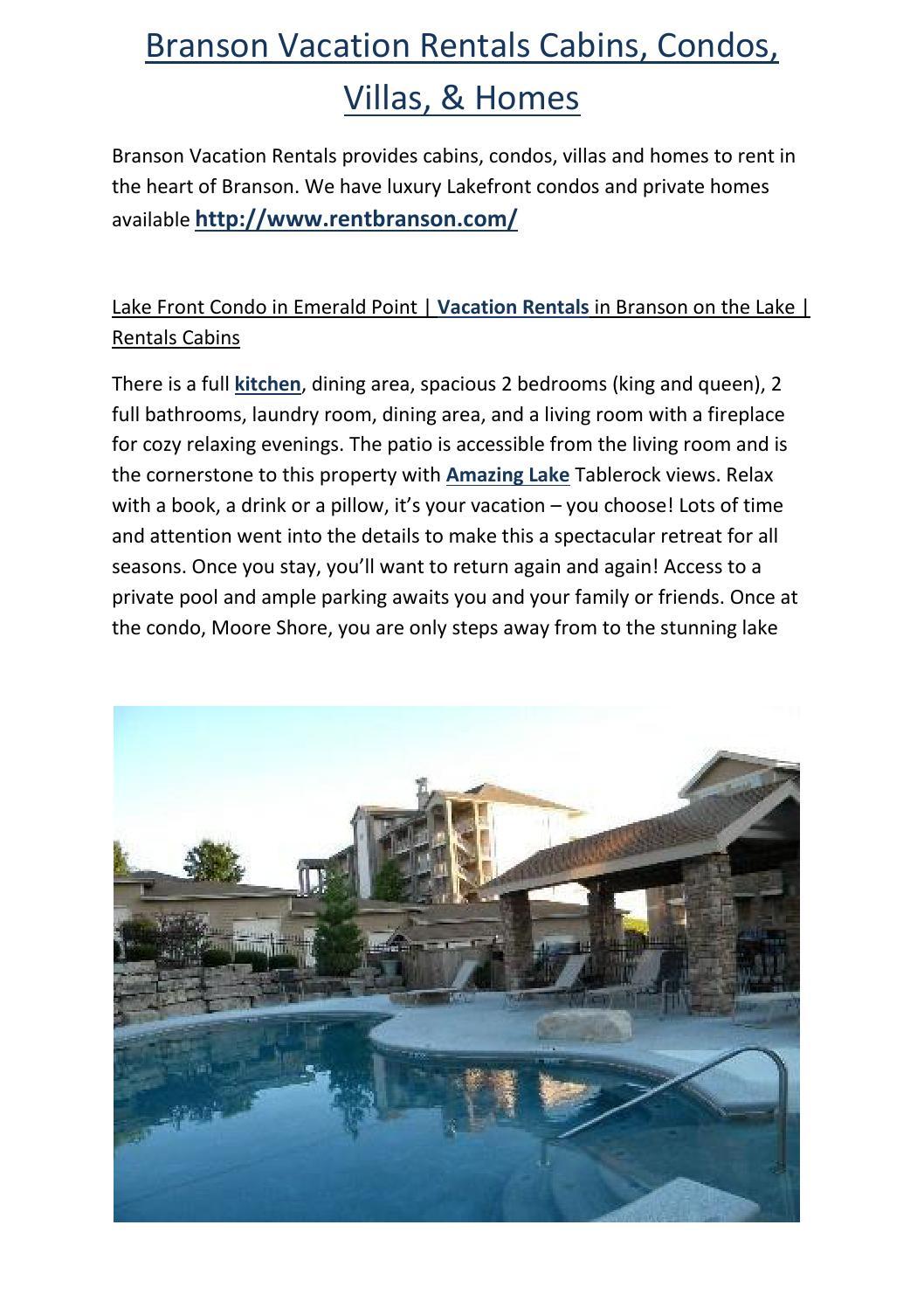 Branson Vacation Rentals Cabins, Condos, Villas, & Homes