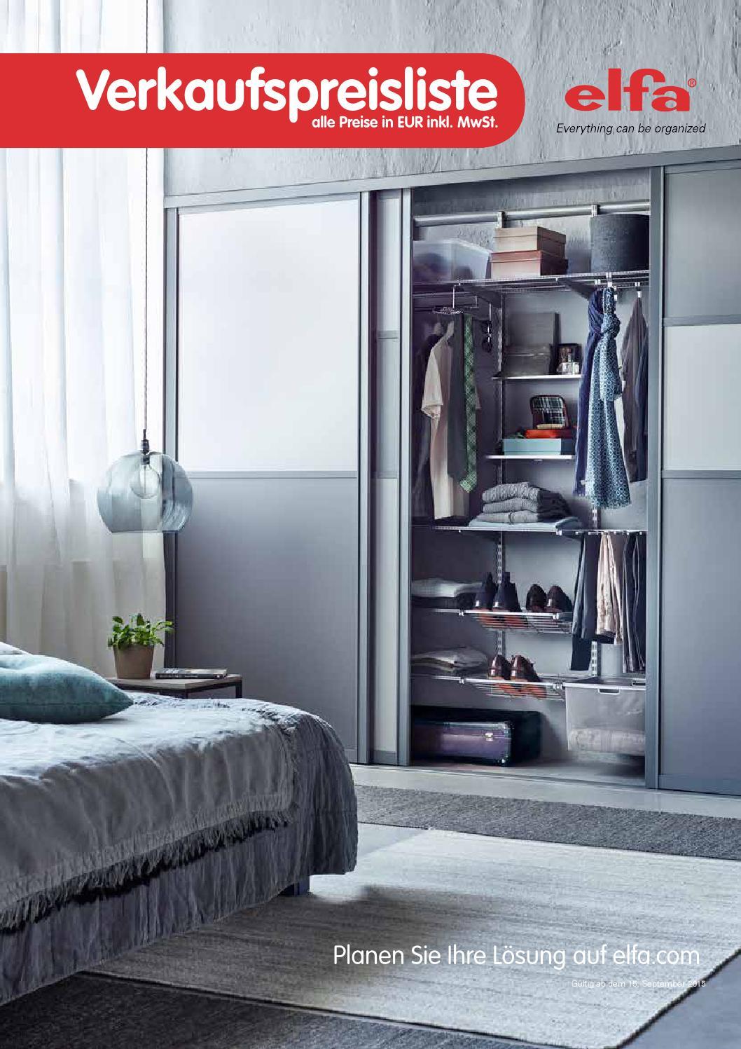 elfa de verkaufspreisliste 20150901 by elfa international. Black Bedroom Furniture Sets. Home Design Ideas