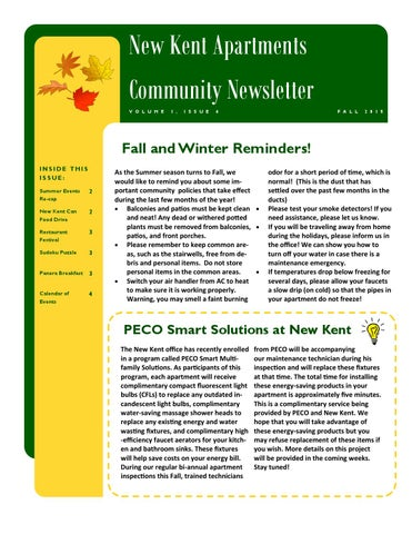 New Kent Apartment Community Newsletter Fall 2017