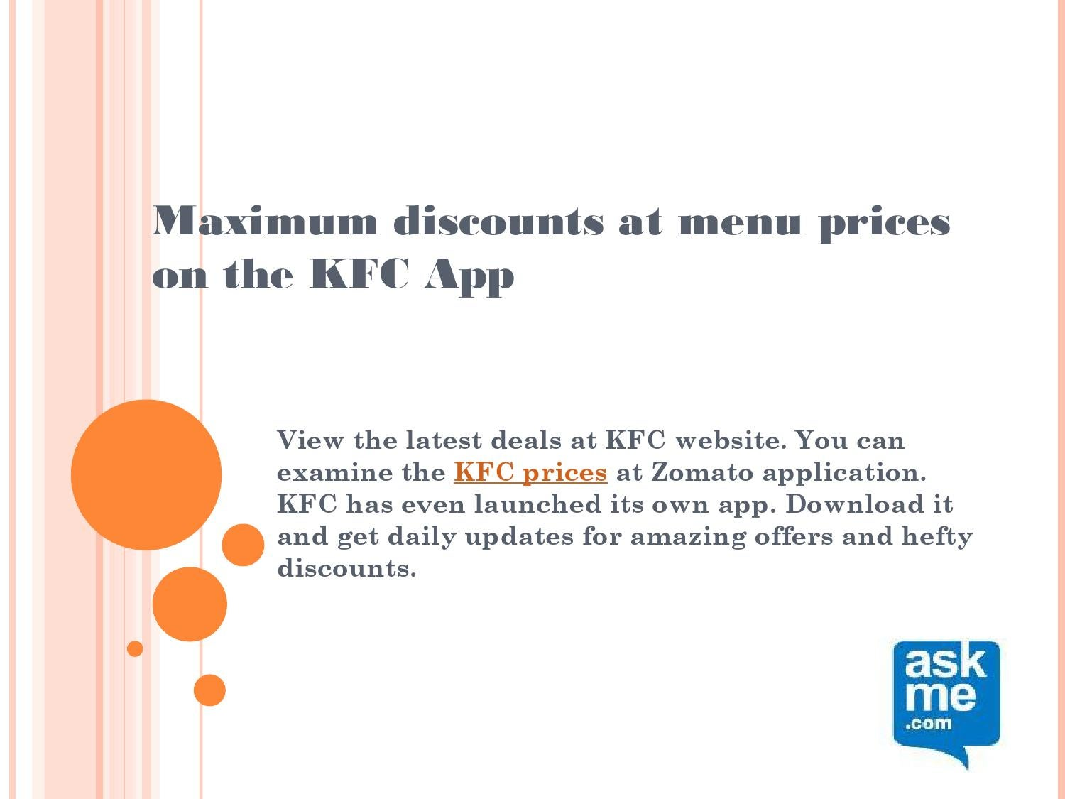 Maximum discounts at menu prices on the kfc app by Ask Me