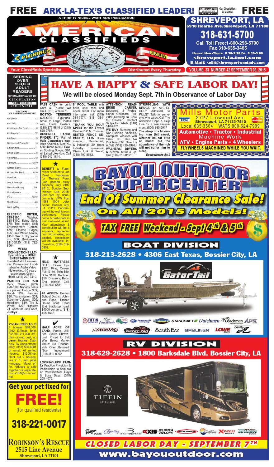 American classifieds shreveport la sept 3rd 2015 by shreveport american classifieds issuu