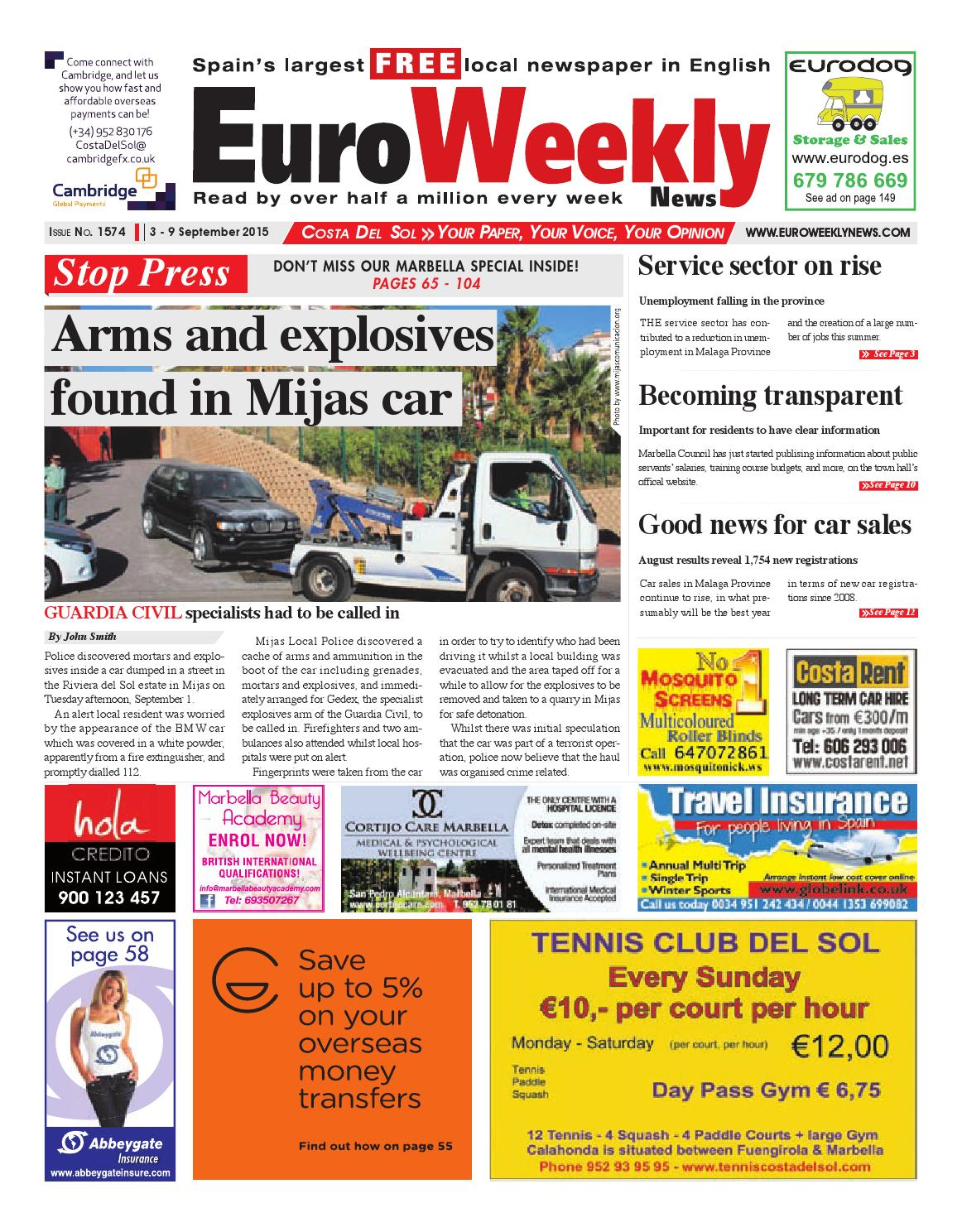 Euro Weekly News Costa Del Sol 3 9 September 2015 Issue 1574  # Muebles Dios Rey Pontevedra