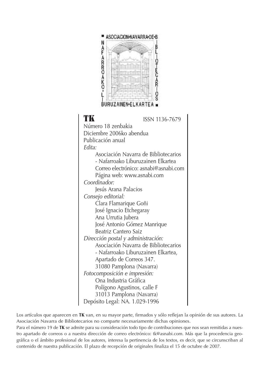 REVISTA TK 18 Aldizkaria by Asociacion Navarra de Bibliotecarias y ...