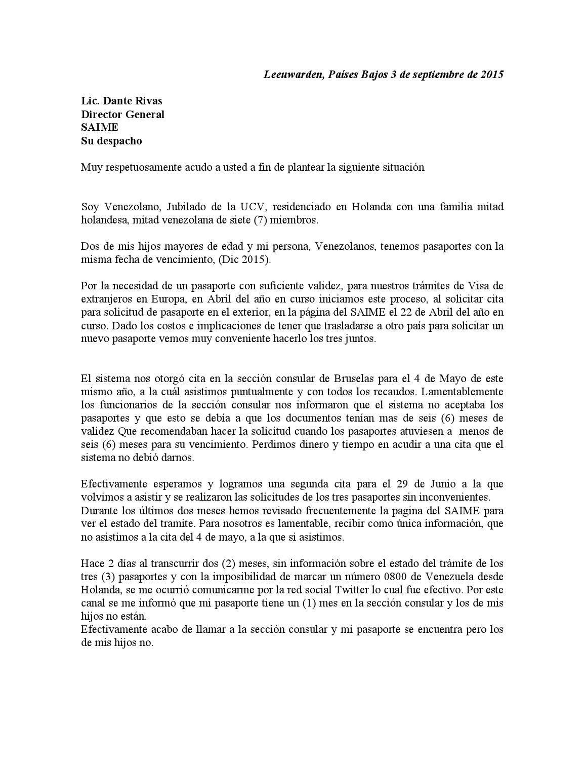 carta al director general del saime by jos u00e9 gil