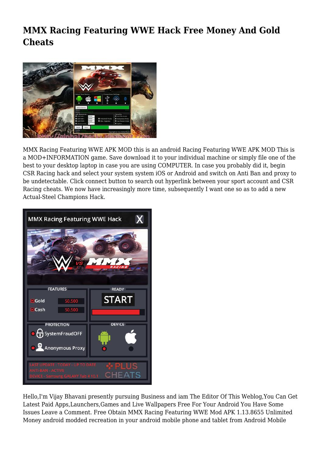 MMX Racing Featuring WWE Hack Free Money And Gold Cheats by