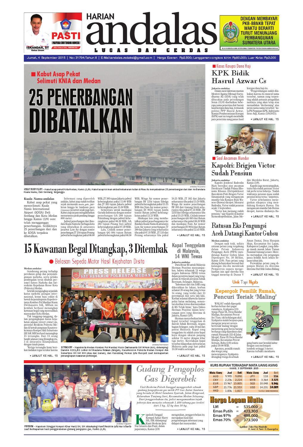 Epaper Andalas Edisi Jumat 4 September 2015 By Media Issuu Fcenter Meja Belajar Sd Hk 9004 Sh Jawa Tengah