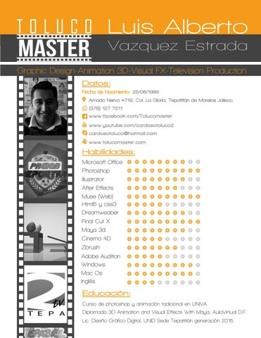 curriculum vitae de animador 3d