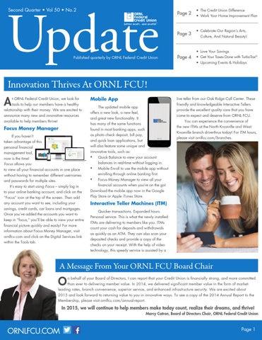 Ornlfcu Update Vol 50 No 2 By Ornl Federal Credit Union Issuu
