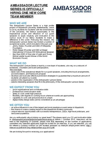 Ambassador lecture series position by maastricht university issuu page 1 spiritdancerdesigns Image collections