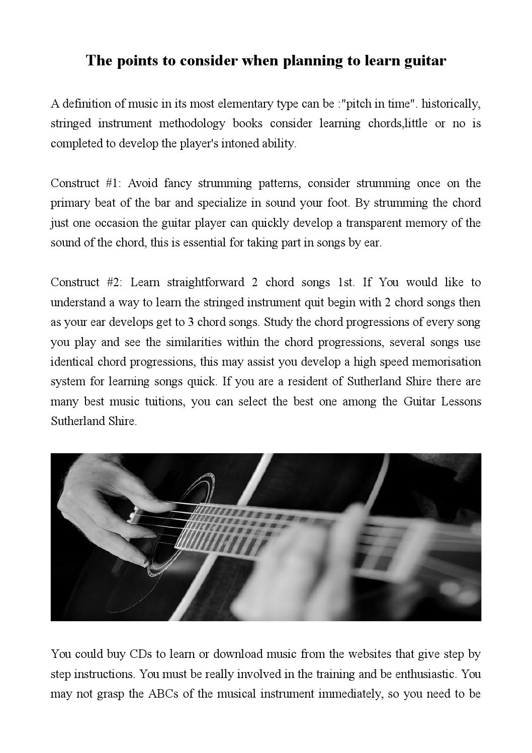 The Points To Consider When Planning To Learn Guitar By
