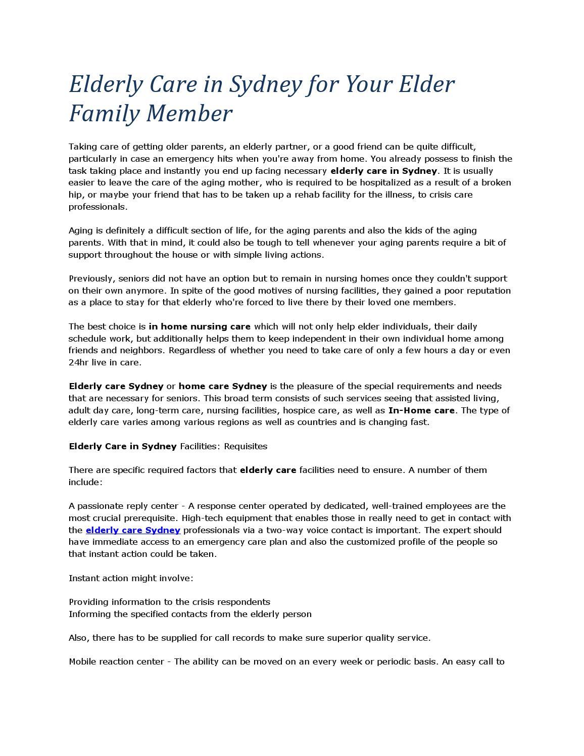 Elderly care in sydney for your elder family member by Regal Health