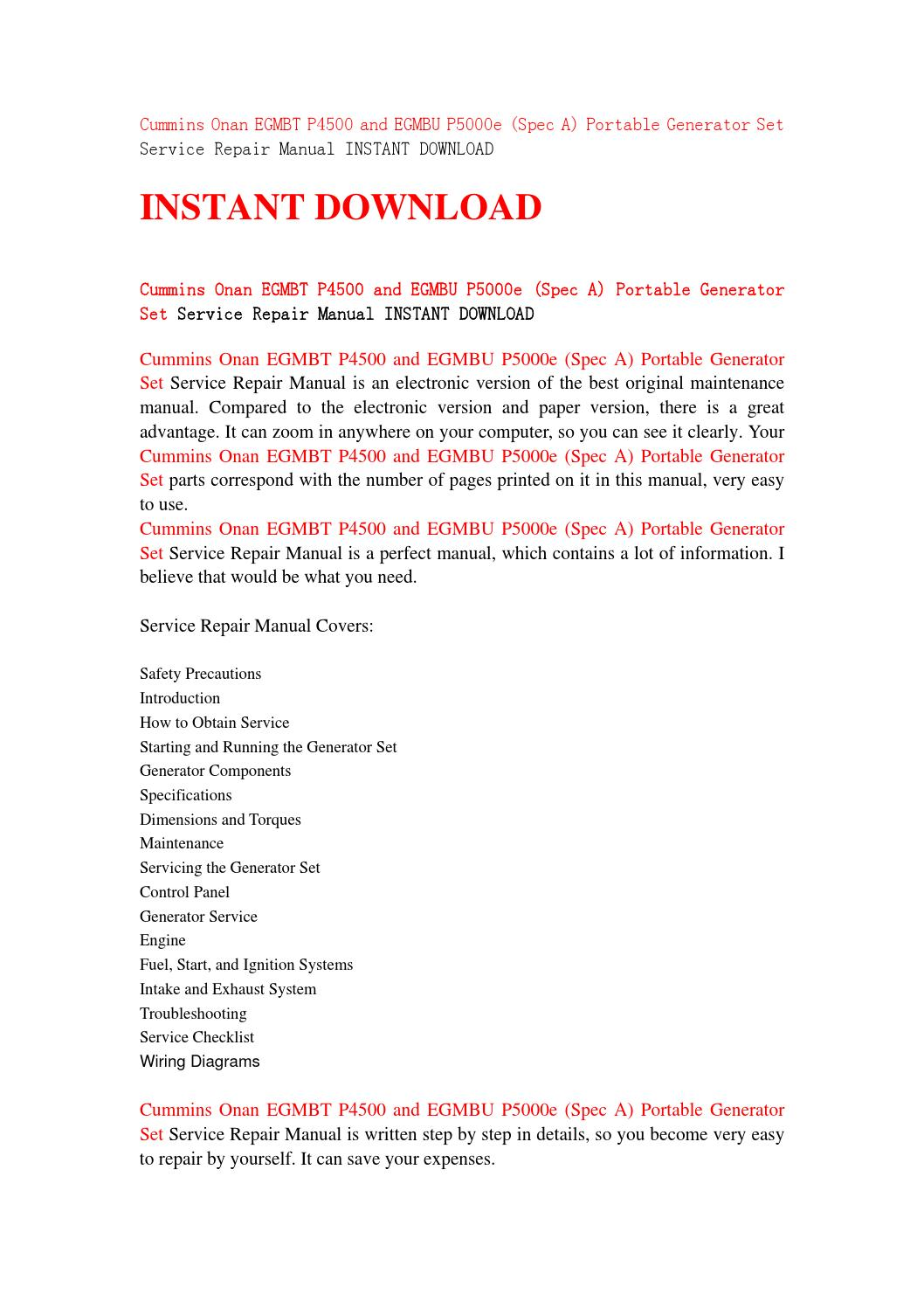 cummins onan egmbt p4500 and egmbu p5000e (spec a) portable generator set  service repair manual inst by jfhsnenf - issuu