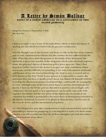 A Letter By Sim 243 N Bol 237 Var Edit By Jamaica Information