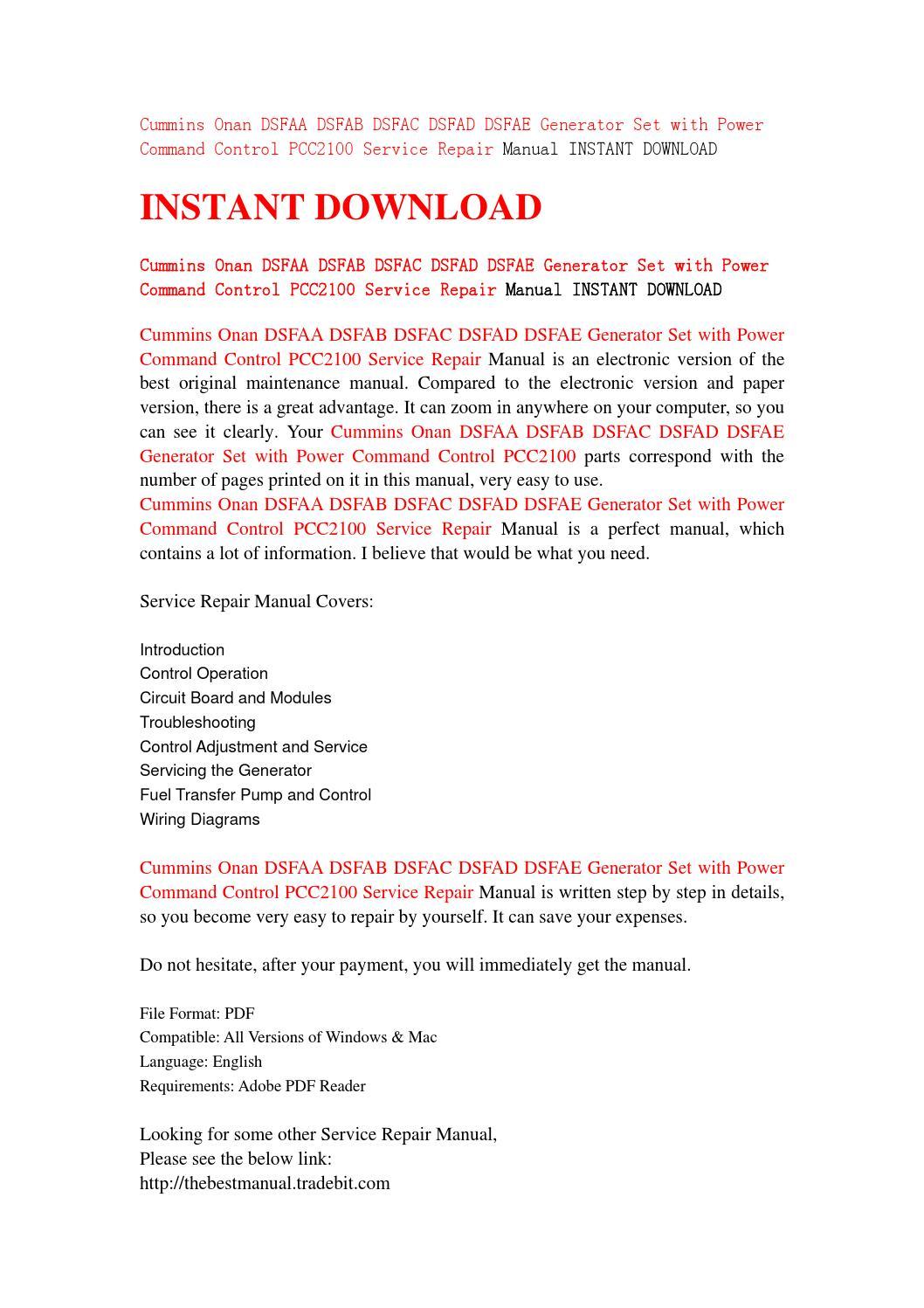 Cummins onan dsfaa dsfab dsfac dsfad dsfae generator set with power command  control pcc2100 service by servicemanual201587 - issuu