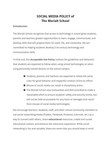 Student Social Media Policy By The Moriah School  Issuu