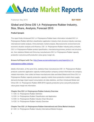 Global and china cis 1,4 polyisoprene rubber industry, size, share