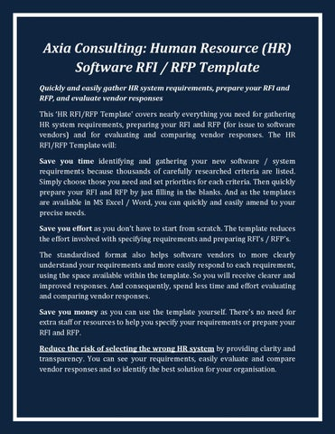 Axia Consulting Human Resource Hr Rfi Rfp Template