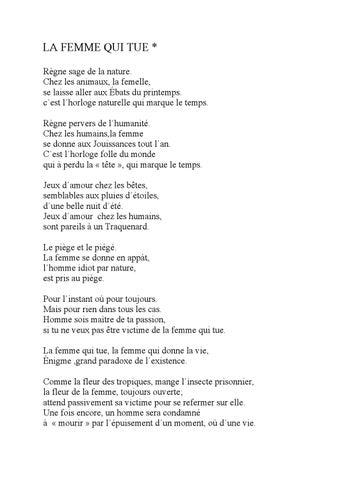 La Femme Qui Tue Poeme By Orso Issuu