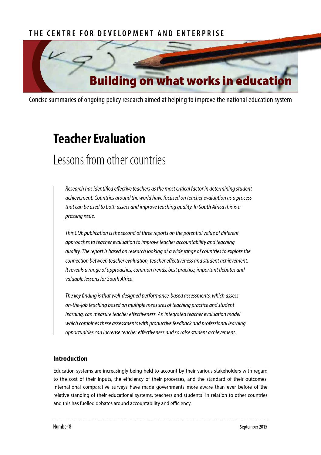 Teacher Evaluation Lessons From Other Countries By Centre For Development And Enterprise