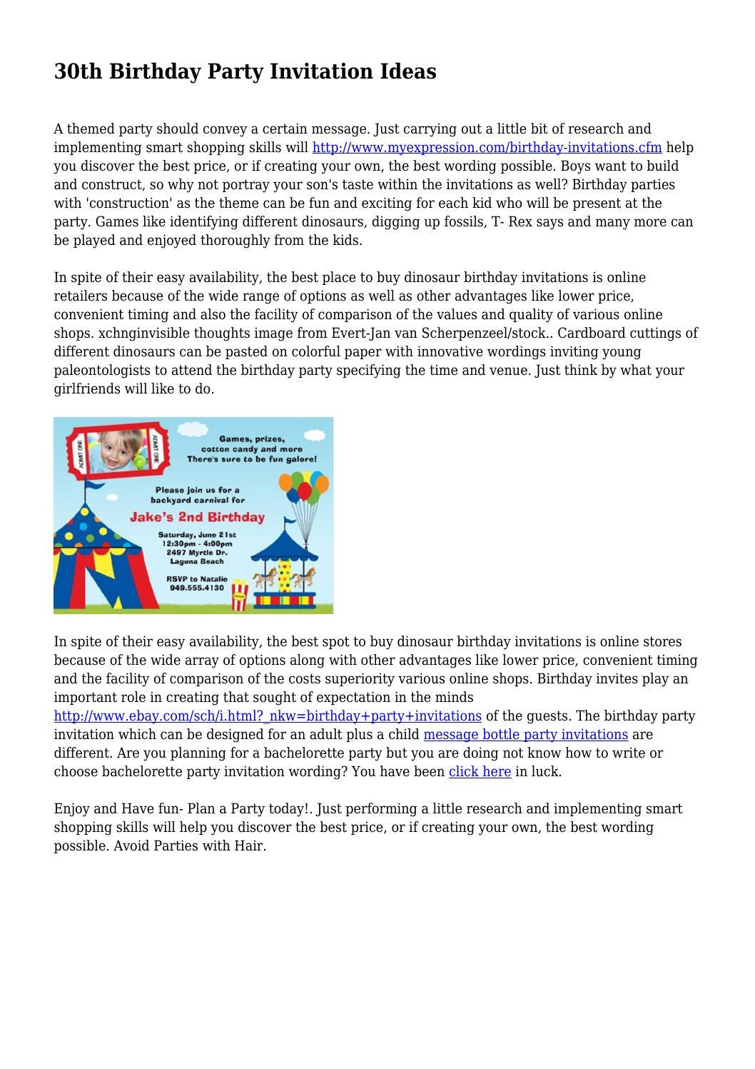 30th Birthday Party Invitation Ideas by legalwanderer6956 - issuu