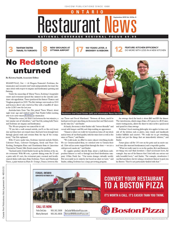 Ontario Restaurant News - September 2015 by Ishcom Publications - issuu