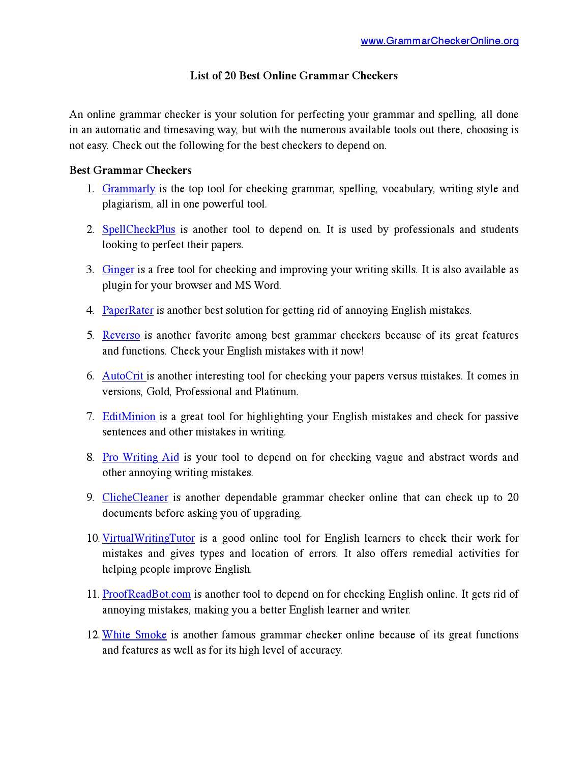 Best 20 Grammar Checkers by Grammar Checker Online - issuu