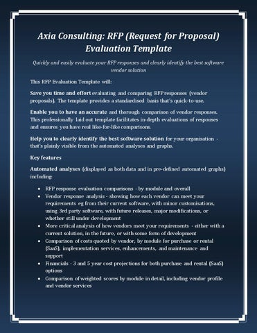 Axia Consulting Rfp Request For Proposal Evaluation Template By