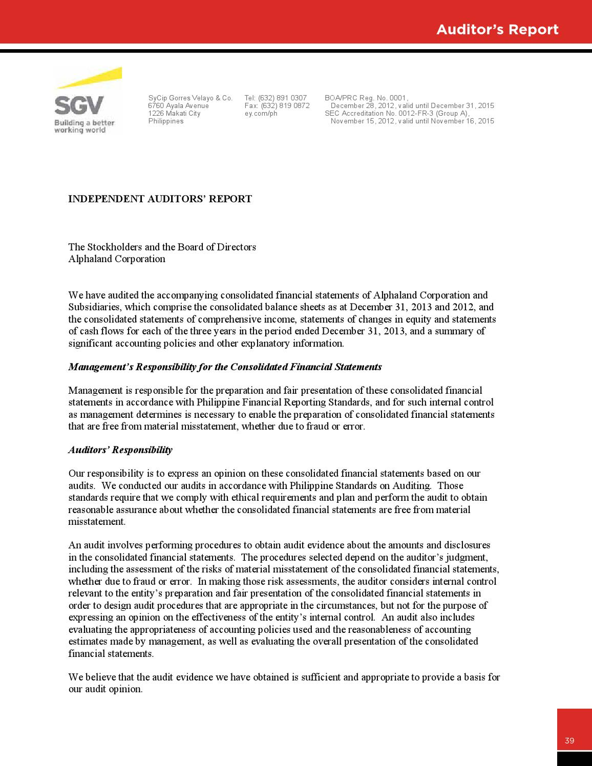 Independent auditor s report on consolidated financial statements joint stock pany dorogobuzh international financial reporting independent auditor altavistaventures Image collections