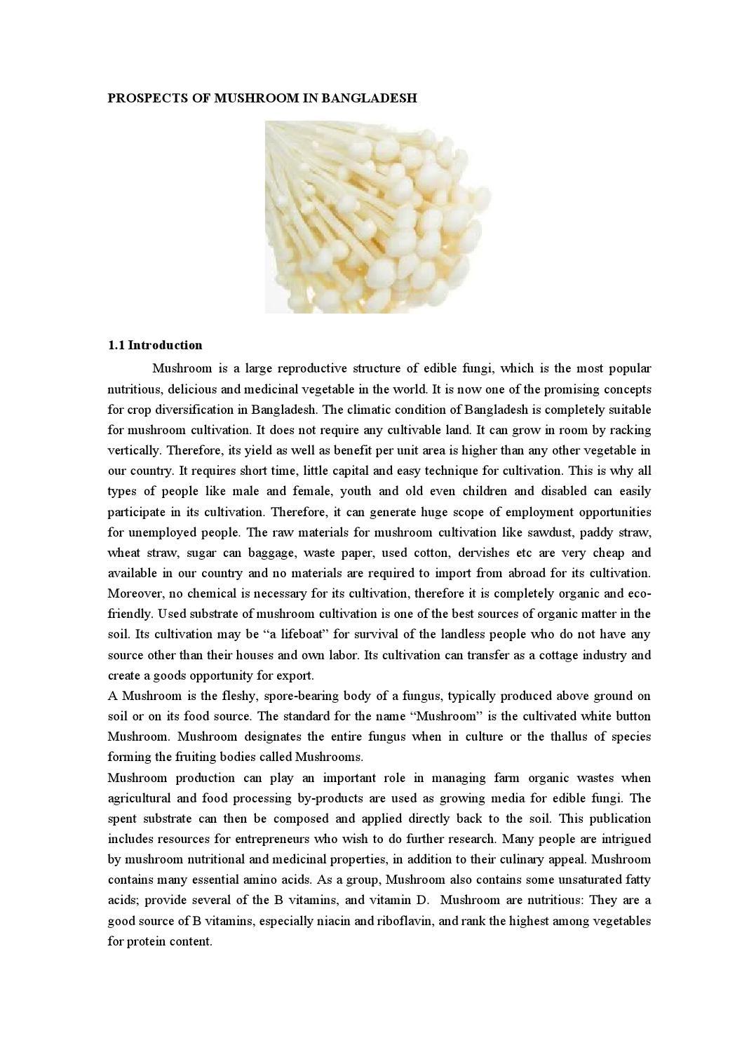 prospects of mushroom farming at savar