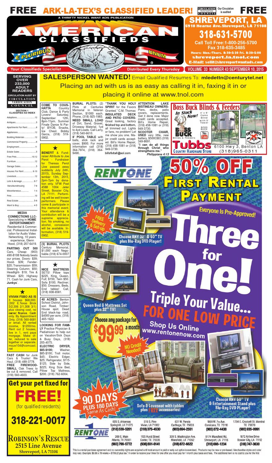 American classifieds shreveport la sept 10th 2015 by shreveport american classifieds issuu
