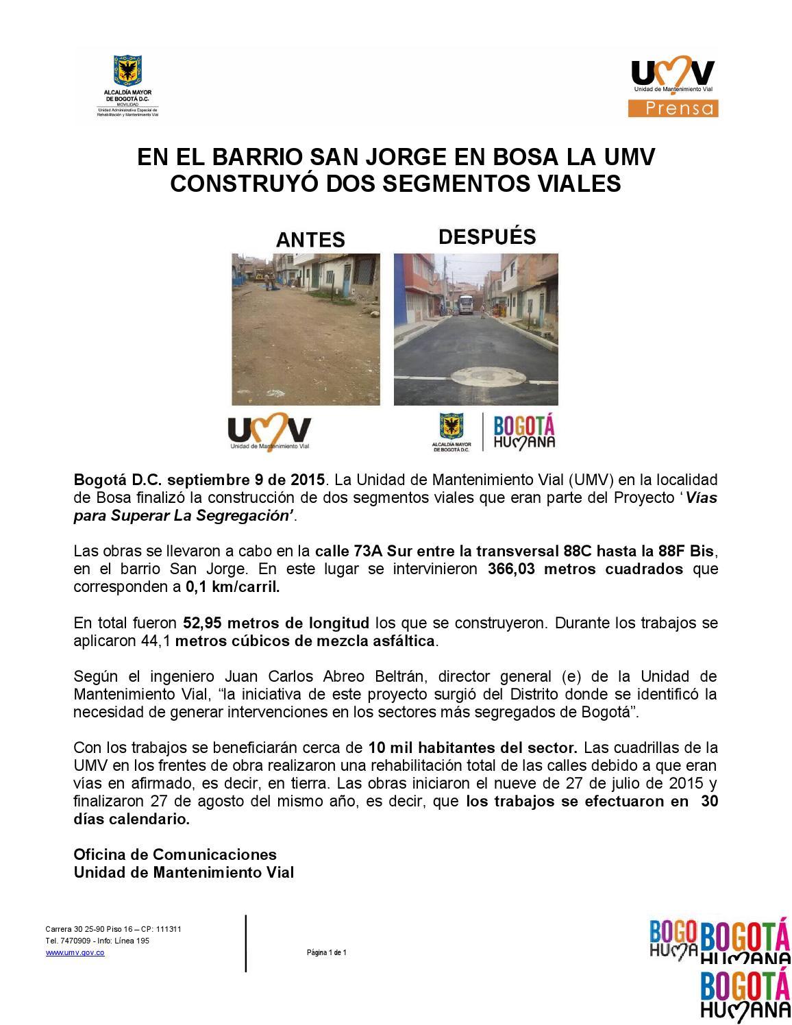 Umv Calendario.Septiembre 9 De 2015 En El Barrio San Jorge En Bosa La Umv