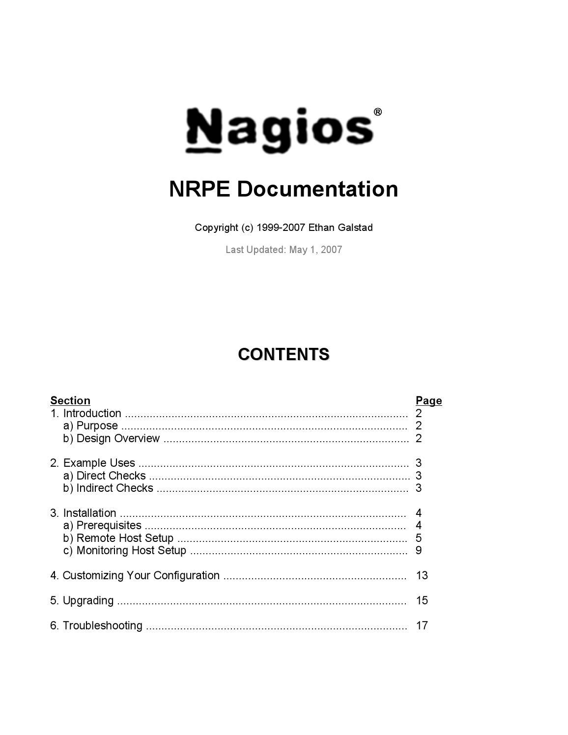 NRPE - Nagios Remote Plugin Executor by Marc Trimble - issuu