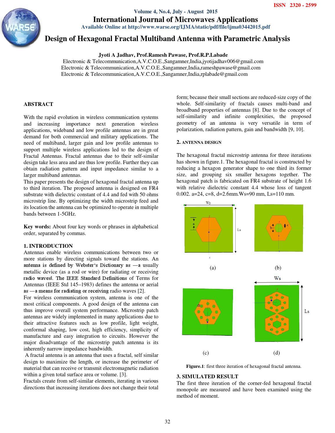Design of Hexagonal Fractal Multiband Antenna with
