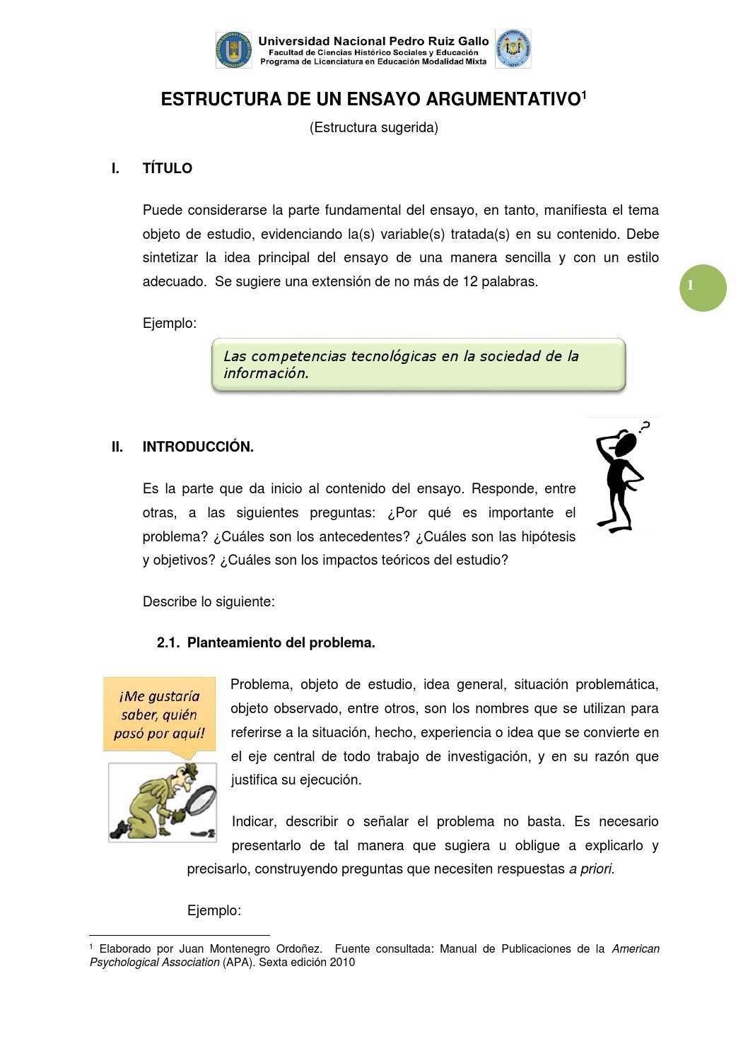 Estructura De Un Ensayo Argumentativo By Juan Montenegro Issuu