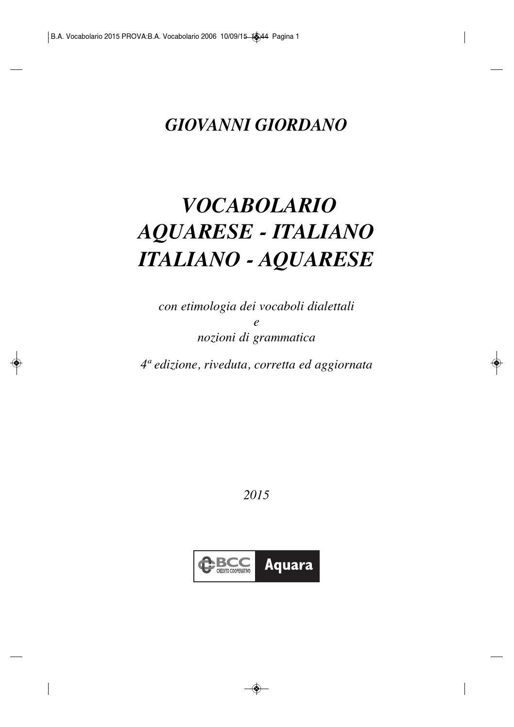 spesso Vocabolario 2015 Aquarese Italiano by Sergio Capozzoli - issuu PO75