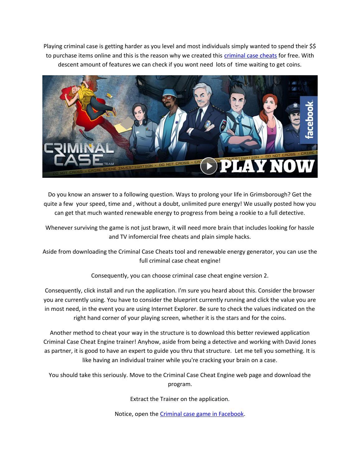 Criminal Case Cheats Review by Sewardas Key - issuu