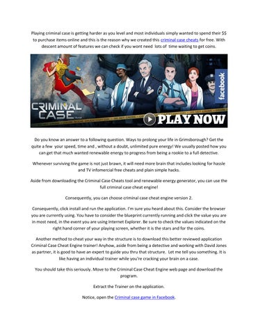 Criminal Case Hack Cheats Trainer Tool Free Energy