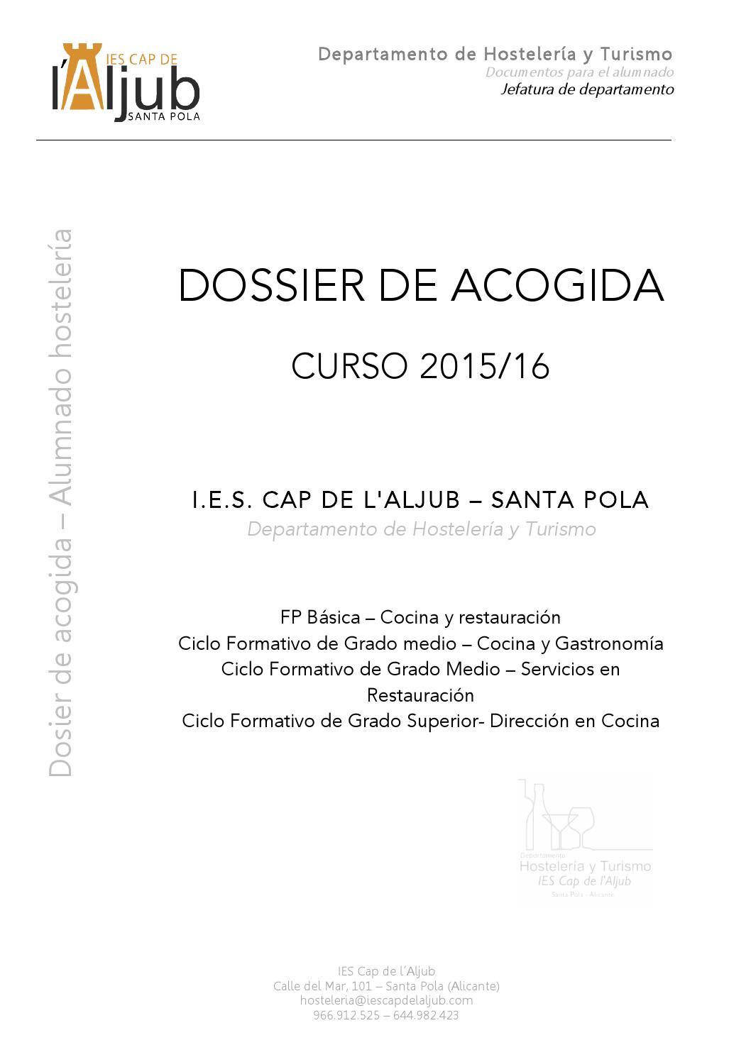 Dossier Acogida Hostelería 2015 16 By Lessalinesga Issuu